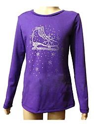 baratos -Top para Patinação Artística Mulheres / Para Meninas Patinação no Gelo Blusas Violeta Elastano Com Stretch Espetáculo / Praticar Roupa
