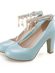 Недорогие -Жен. Обувь Полиуретан Весна Осень Удобная обувь Оригинальная обувь Обувь на каблуках На толстом каблуке Заостренный носок Бусины Заклепки