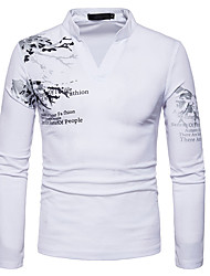 cheap -Men's Chinoiserie Cotton Slim T-shirt - Graphic Print Round Neck / Long Sleeve