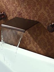 Недорогие -Античный Разбросанная Водопад Медный клапан Две ручки три отверстия Начищенная бронза, Ванная раковина кран