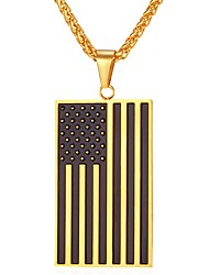 cheap -Men's / Women's Pendant Necklace - Stainless Steel Classic Gold, Silver Necklace One-piece Suit For Daily, Ceremony