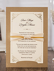 cheap -Flat Card Wedding Invitations 20 - Invitation Cards Modern Style Embossed Paper Ribbons