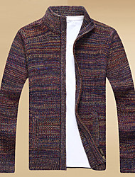 cheap -Men's Long Sleeves Cardigan - Multi Color, Print Stand