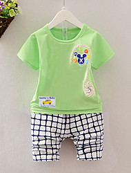 cheap -Boys' Daily Beach Print Clothing Set,Cotton Summer Short Sleeve Casual Yellow Blushing Pink Green Blue
