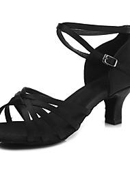 economico -Scarpe per balli latini Raso Tacchi Rattan Tacco cubano Personalizzabile Scarpe da ballo Nero / Beige / Marrone scuro