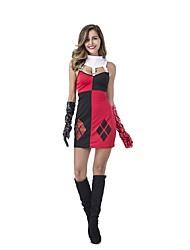 preiswerte -Burleske Clown Harley Quinn Zirkus Cosplay Kostüme Party Kostüme Damen Halloween Karneval Fest / Feiertage Halloween Kostüme Rot Einfarbig