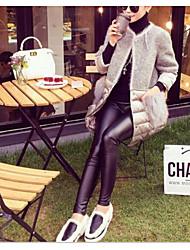 Недорогие -Жен. С фотографией Ретро Однотонный Плотная Один цвет Леггинсы Хлопок Бамбуковая ткань Спандекс,Черный