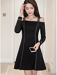 cheap -Women's Holiday Vintage Sheath Dress,Color Block Round Neck Above Knee Long Sleeve Cotton Fall Mid Rise Micro-elastic Opaque