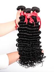 cheap -Brazilian Hair Curly / Deep Wave Natural Color Hair Weaves 3 Bundles Human Hair Weaves Natural Black Human Hair Extensions Women's