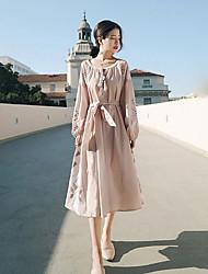 Недорогие -Жен. С летящей юбкой Платье - Геометрический принт, Классический Завышенная