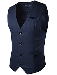 cheap -Men's Business Formal Vest-Solid Colored