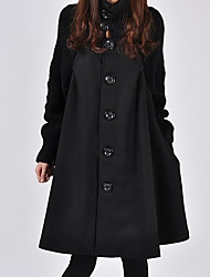cheap -Women's Street chic Trench Coat-Solid Colored Turtleneck