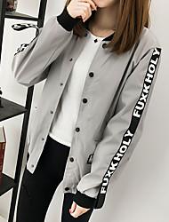 Недорогие -Жен. Куртка Однотонный, Хлопок Крупногабаритные