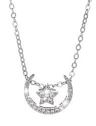 preiswerte -Damen Kubikzirkonia Anhängerketten  -  Zirkon MOON, Stern Grundlegend Silber Modische Halsketten Für Party, Alltag