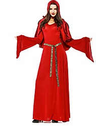 cheap -Witch Cosplay Costume Women's Halloween Carnival Oktoberfest Festival / Holiday Halloween Costumes Red Solid Colored Vampires Cosplay