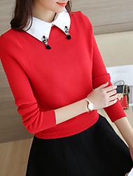 Недорогие -Жен. Длинный рукав Пуловер-Однотонный Рубашечный воротник