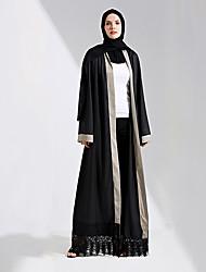 abordables -Mode Robe caftan Abaya Robe Arabe Femme Fête / Célébration Déguisement d'Halloween Noir Couleur Pleine