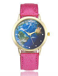 Недорогие -Жен. Наручные часы Китайский Повседневные часы Кожа Группа Мода / World Map Pattern Черный / Белый / Синий