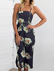 abordables -Femme Vacances Coton Combinaison-pantalon - Imprimé, Couleur Pleine A Bretelles