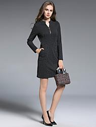 cheap -MISSGIRL Women's A Line Dress - Geometric Check High Waist V Neck