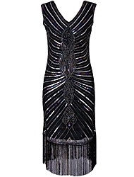 cheap -1920s The Great Gatsby Costume Women's Flapper Dress Black Vintage Cosplay Polyethylene Short Sleeves Cap