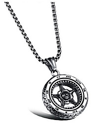 cheap -Men's Women's Pendant Necklace - Vintage Cool Circle Tire Necklace For Daily Street