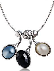 baratos -Mulheres Zircônia Cubica Opal Synthetic Prata Chapeada Imitações de Diamante Colares com Pendentes  -  Clássico Preto Colar Para Festa