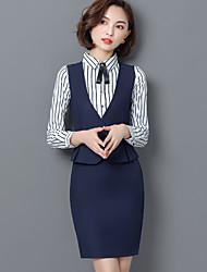 cheap -Women's Work Above Knee Skirts,Casual Bodycon Linen Print Winter Fall