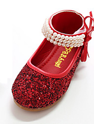 cheap -Girls' Shoes Canvas Spring & Summer Comfort / Novelty / Flower Girl Shoes Flats Bowknot / Pearl / Magic Tape for Silver / Red