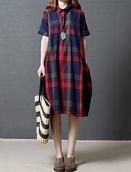 cheap -Women's Daily Going out Casual Loose Shirt DressCheck Shirt Collar Knee-length Short Sleeve Cotton Linen Summer Mid Waist Inelastic