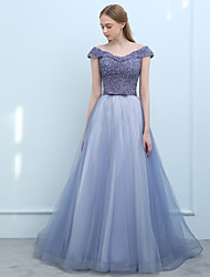 cheap -Ball Gown Off Shoulder Sweep / Brush Train Tulle Prom / Formal Evening Dress with Beading Sequin by LAN TING Express