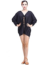 cheap -Latin Dance Dresses Women's Performance Milk Fiber Ice Silk Pleats 3/4 Length Sleeve Natural Dresses