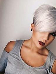 Недорогие -Человеческие волосы без парики Натуральные волосы Прямой Стрижка под мальчика Боковая часть Машинное плетение Парик Жен.