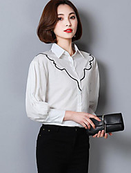 cheap -Women's Work Sophisticated Shirt,Print Shirt Collar 3/4 Length Sleeves Cotton Others