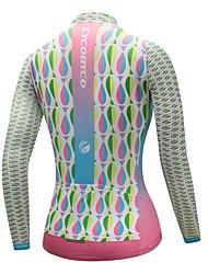 economico -CYCOBYCO Per donna Manica lunga Maglia da ciclismo - Cielo blu + bianco Bicicletta Maglietta / Maglia, Asciugatura rapida, Strisce