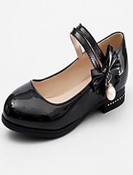 abordables -Femme Chaussures Similicuir Printemps Automne Nouveauté Confort Ballerines Talon Plat Bout rond Noeud pour Habillé Blanc Noir Rose