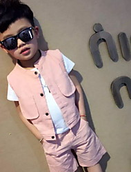cheap -Men's Daily Holiday Solid Clothing Set, Cotton Summer Short Sleeves Active Blushing Pink