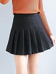 preiswerte -Damen Niedlich Freizeit Sexy Alltag Festtage Mini Röcke A-Linie,Baumwolle Solide Winter Frühling