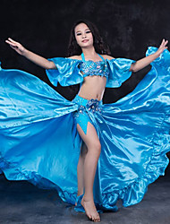 cheap -Belly Dance Outfits Performance Spandex Ruffles Short Sleeve Dropped Skirts Top Hip Scarf Shorts