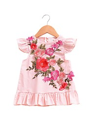 cheap -Baby Girl's Daily Solid Dress, Cotton Linen Bamboo Fiber Acrylic Spring Simple Long Sleeves Blushing Pink