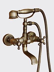 cheap -Antique Tub And Shower Handshower Included Ceramic Valve Two Holes Two Handles Two Holes Antique Brass, Shower Faucet Bathtub Faucet