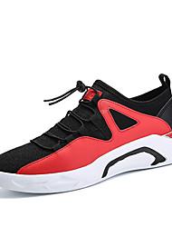Homens sapatos Micofibra Sintética PU Primavera Outono Conforto Tênis Caminhada para Atlético Preto Branco/Preto Preto/Vermelho