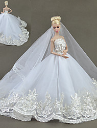 cheap -Dresses Dresses Dress For Barbie Doll White Tulle Lace Silk/Cotton Blend Dress For Girl's Doll Toy