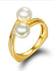 preiswerte -Damen Kubikzirkonia Perle Perle Zirkon vergoldet Knöchel-Ring - Für Hochzeit Alltag