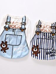 preiswerte -Hunde Pullover Hundekleidung Gestreift Cartoon Design Dunkelblau Hellblau Baumwolle Kostüm Für Haustiere Alles Lässig/Alltäglich