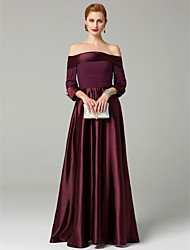 cheap -A-Line Princess Off Shoulder Ankle Length Satin Mother of the Bride Dress with Beading Ruched by LAN TING BRIDE®