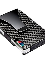 cheap -Slim Carbon Fiber Credit Card Holder RFID Blocking Metal Wallet Money Clip Case