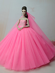cheap -Dresses One-Piece For Barbie Doll Rose Pink Satin/ Tulle Dress For Girl's Doll Toy