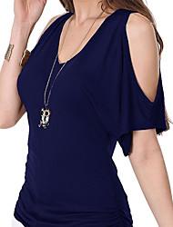 preiswerte -Damen Solide-Einfach T-shirt,V-Ausschnitt Aufflackern-Hülsen-