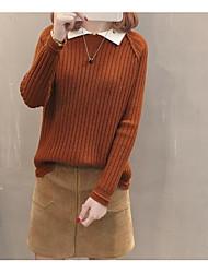 Mulheres Côr Sólida Diário Estampado Simples Suéter Pulôver, Colarinho de Camisa Manga Longa Primavera